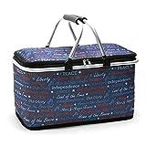 Cesta de pícnic plegable con aislamiento térmico, bolsa de pícnic, bolsa de pícnic, bolsa de viaje plegable para oficina, vacaciones familiares, 29 litros