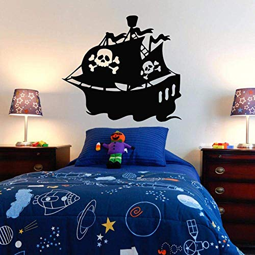 Tatuajes De Pared Pegatinas Impermeable Barco Pirata Tatuajes De Pared Dormitorio Dormitorio Barco Pirata Decoración Treasure Gold Mural Kids Boys Room 64 * 57Cm