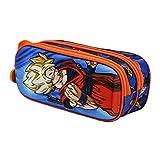 KARACTERMANIA Dragon Ball Supersayan - Estuche Portatodo 3D Doble, Multicolor