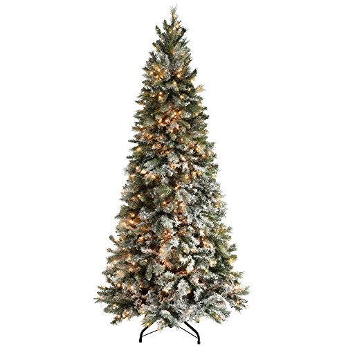 WeRChristmas Pre-Lit Slim Snow Flocked Spruce Christmas Tree with 400 Chasing Warm LED Lights, 7 feet/2.1m