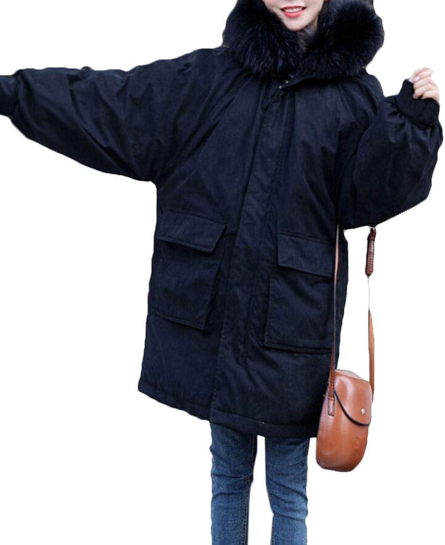 Esast Women's Winter Down Coats Faux Fur Hood Parka Puffer Maxi Outwears Parkas