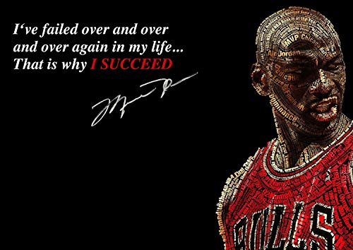 Michael Jordan Motivación i ' Ve Failed Baloncesto Inspiration Americano Jugador NBA Deporte Frase Póster Imagen Succeed Foto Tren Duro Dormitorio Obras de Arte Pared Decoración Reimpresión Gráfico