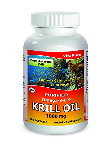 VitaPure Krill Oil 1000 mg 180 Softgels - Pure Antarctic Krill - Purified Omega 3-6-9 -Supports Cardiovascular and Joint Health