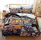 Xiuer Anime Naruto Parure de lit 3D avec personnage Whirlpool Naruto Parure de lit 1 place et 2 personnes Noir 135 x 200 cm