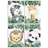 Klasse 4er Set Bilder Dschungeltiere Dschungel Panda Löwe