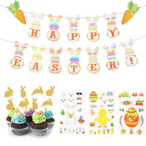 JOOPOM 12pcs Easter Party Decoration, Happy Easter Banner Bunny Shaped Garland Easter Day Bunting with Rabbit Cupcake Toppers & Easter DIY Stickers for Easter Party Decor