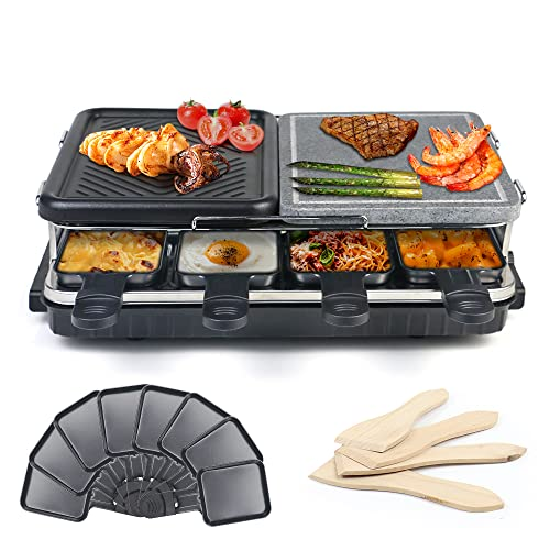 Raclette Grill 8 Person Grill Machine Electric Stone Grill & Aluminium...