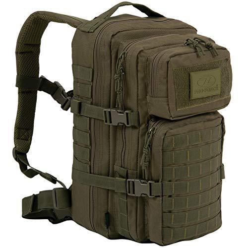 HIGHLANDER Sac à Dos Tactique d'assaut Militaire Le Sac de Jour Recon 28L imperméable avec de Nombreuses Attaches Molle pour d'Autres Accessoires et équipements (Vert Olive)