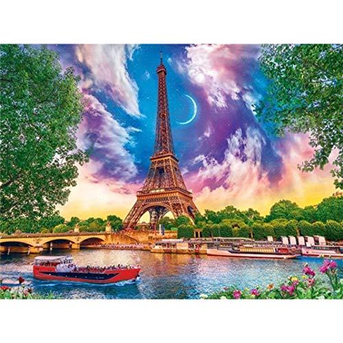 Kits de pintura por números para niños, adultos, toalla, paisaje de la ciudad, kits de pintura al óleo, regalo Diy, decoración del hogar, arte de pared, Drawin