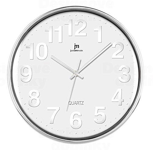 LoWell 00816–Wanduhr (Chrom, weiß, Kunststoff)