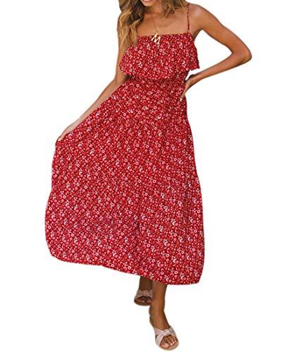 Avondii Damen Boho Sommerkleid Lang Rückenfrei Midi Kleid Ärmellos Casual Strandkleid (L, A-Rot)