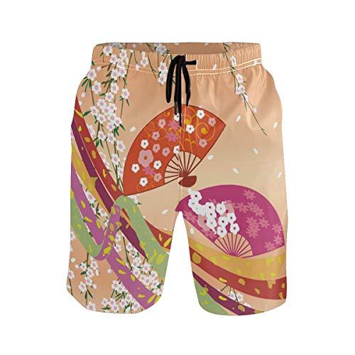 DEZIRO Traje de baño japonés con diseño de abanicos para hombre, de secado rápido