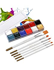 Goolsky 12 Colors Solid Oily Face Paint Pigment Greasepaint Kit with 6pcs Paintbrush Brushes Safe Body & Face Paint Facepaints Bodypaint for Artist Students Drawing Painting Art Supplies