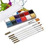 Fesjoy 12 colores Pintura de la cara con aceite sólido Kit de pintura de pigmento de pigmento con 6 pinceles Pincel Brocha Pintura corporal y facial de forma segura Pintura corporal para estudiantes d