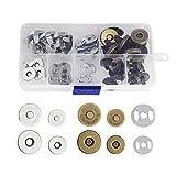 CODIRATO 20PCS Botónes Magneticos 14/18 mm Cierre Magnético de Aleación de Zinc Cierres de Botón con Caja de Plástico para Manualidades/Mochila/Billeteras (Bronce y Plata)