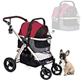 HPZ Pet Rover Prime 3-in-1 Luxury Dog/Cat/Pet Stroller (Travel Carrier +Car Seat +Stroller) w/Detach Carrier/Pump-Free Rubber Tires/Aluminum Frame/Reversible Handle for Medium & Small Pets (Ruby Red)