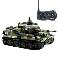 This 1:72 Scale mini remote control tank toy looks like a real tiger tank with great details. 360° Rotating Turret, Recoil Action When Cannon Artillery Shoots, Flexible and working plastic tracks Function: Forward, turn left, turn right, backward wit...