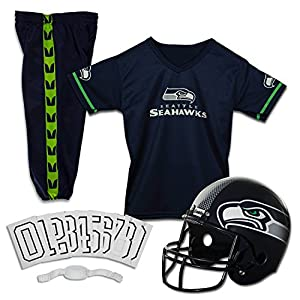Franklin Sports Deluxe NFL-Style Youth Uniform – NFL Kids Helmet, Jersey, Pants, Chinstrap and Iron on Numbers Included – Football Costume for Boys and Girls, Seattle Seahawks, Large