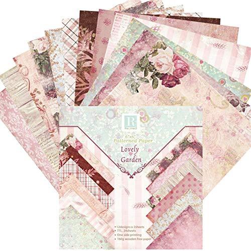 EZIZB 24 Pcs Designpapier Dekorpapier Muster Papier 6 '' Einseitiges Musterpapier Für Vielfältige Bastelarbeiten Und Ideen