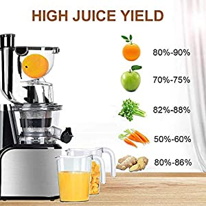 Aobosi Slow Masticating Juicer 83mm(3.15inch) Wide Chute Juice Extractor Cold Press Juicer Machine with Quiet Motor… |
