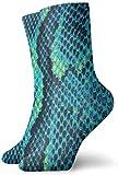 Falda de gasa de algodón con estampado de serpiente turquesa Calcetines de compresión antideslizantes Calcetines deportivos acogedores de 30 cm para hombres, mujeres y niños