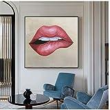 HSFFBHFBH Cuadro en Lienzo Lámina Abstracta Labios Rojos Moda Arte de la Pared Imágenes para Sala Carteles e Impresiones Decoración Moderna 30x30cm (11.8'x11.8) Sin Marco