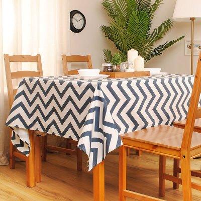 BLUELSS Décoration de la Table en Toile de Coton, Nappe en Tissu imprimé Vague Capot Table Size Peut être personnalisé,Bleu,110cm x 110cm
