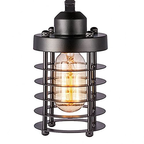 Gutlucky Retro Vintage Industrial Mini Painting Metal Rustic Flush Mount Ceiling Light Pendant Light Ceiling Light for Hallway, Black Finish Cylinder Style