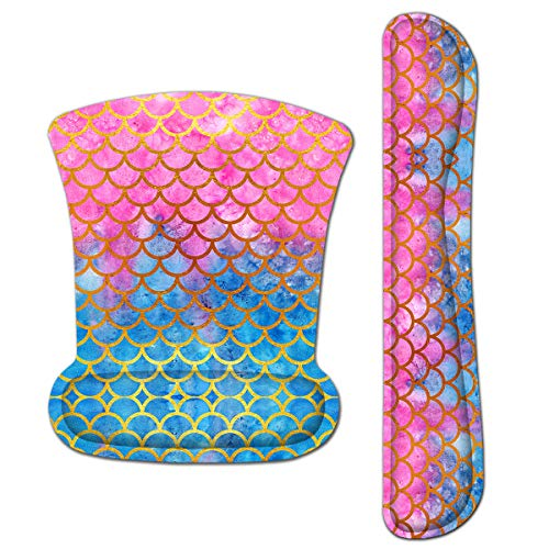 Keyboard Wrist Rest Pad Ergonomic Mouse Pad Set, ToLuLu Gel Mouse Pad for Computer Laptop, Non Slip Mousepad Keyboard Wrist Support with Raised Memory Foam for Easy Typing Pain Relief Mermaid Scales