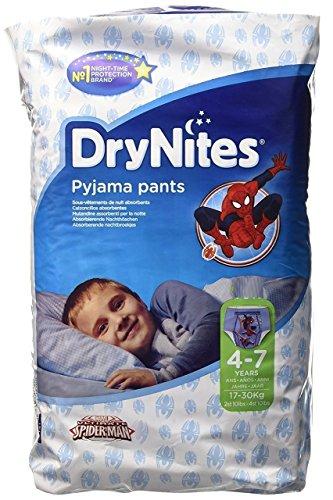 Huggies DryNites - Pantalones de pijama para hombre araña de 4 a 7 años, 30 por paquete