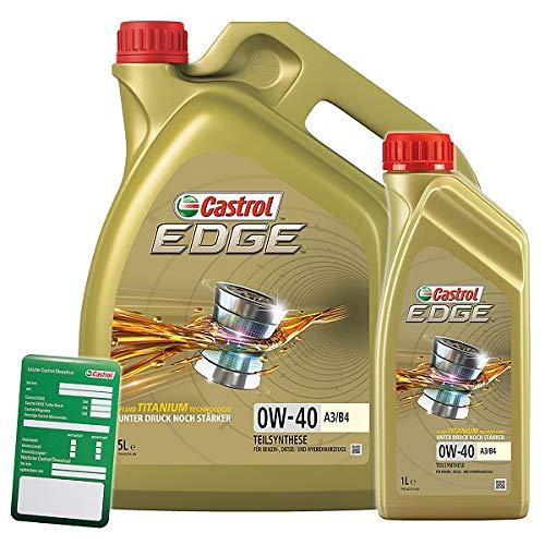 1 L + 5 L = 6 Liter Castrol Edge Fluid Titanium 0W-40 A3/B4 Motoröl inkl. Castrol Ölwechselanhänger