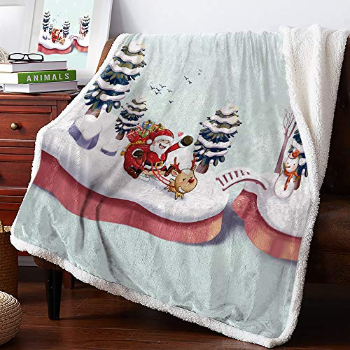 Christmas Sherpa Fleece Throw Blanket for Unisex, Blanket Ultra Soft Comfort Microfiber for Couch Happy Santa Claus and Rudolph Reindeer 40x50 inches