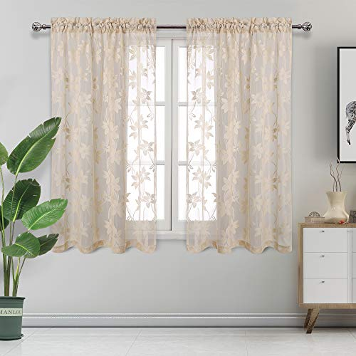 DWCN Floral Lace Sheer Curtains - Rod Pocket Window Voile Sheer Drapes for Bedroom Kitchen Short Curtains 42 x 45 inch Length, Set of 2 Beige Curtain Panels