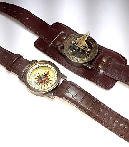 Reloj de pulsera Steampunk de latón con brújula y reloj de sol con correa de piel