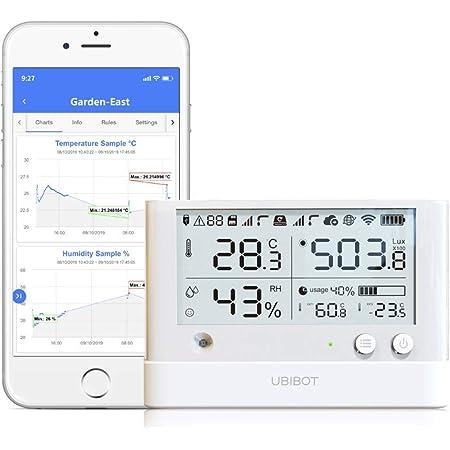 Ubibot telecomando senza fili, sensore di temperatura, umidità, luce ambiente, data logger, WiFi monitor, app mobile Alerts WS1Pro 2.4GHz WiFi solo