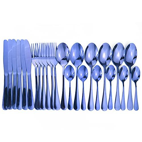 PPuujia Cuchara 16 piezas de cubiertos brillantes conjuntos de vajilla de boda cubiertos de viaje Set de cubiertos de cobre rosa tenedores cuchillos, cucharas dropshipping (color: azul)