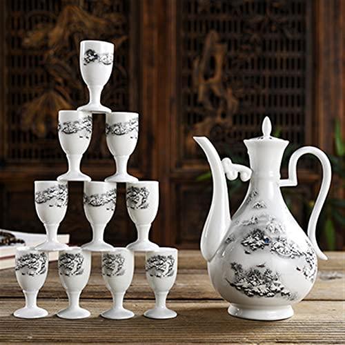 Botellas y juegos de sake Conjunto de copa de vino de cerámica de 3 piezas, utensilios de vino de caja de regalo del hogar, jarras de vino Tamaño 21.5x15.5cm, copa de vino Tamaño 6.7x3.2cm