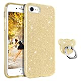 GUAGUA Compatible for iPhone SE 2020/8/7 Case Glitter Sparkle Bling Shiny Cute Cover for Girls Women with Extra Ring Holder Kickstand Slim Protective Phone Cases for iPhone SE 2020/8/7 4.7-inch Gold