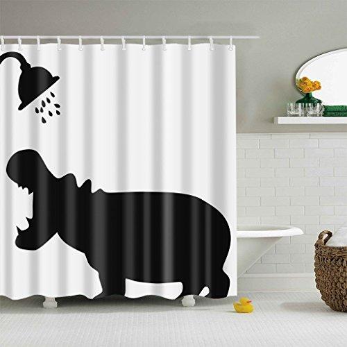 JameStyle26 Duschvorhang Vorhang Digitaldruck inkl. Vorhangringe Anti Schimmel vers. Motiven Badezimmer Badewanne (Nilpferd, 180 x 200 cm)