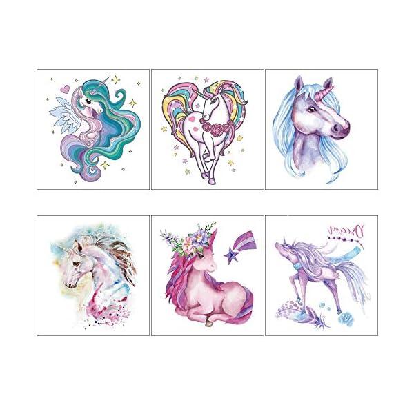 Unicorn Temporary Tattoos for Children Kids Girls(45Sheets),Konsait Great Girls Fake Stickers Waterproof Rainbow Unicorn… 8