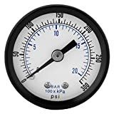 0-20bar / 0-300psi 1/8' BSPT filetage Manomètre de pression pour Eau Liquide Carburant Huile Air, Manomètre de haute précision