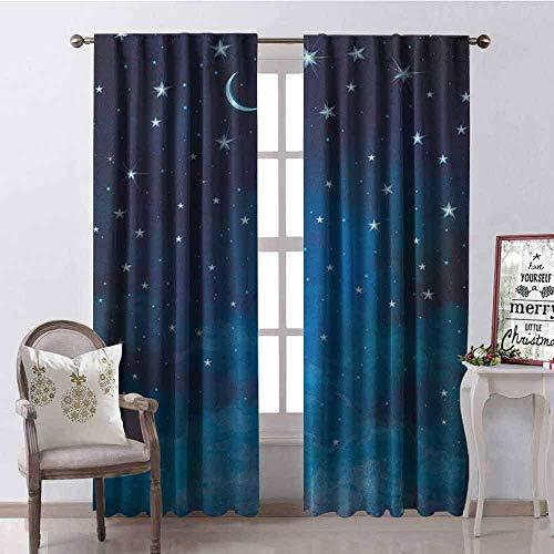 Wild One Curtain Cortina De Apagón del Cielo Ilustración Abstracta De La Noche Constelación De Estrellas Y Media Luna Astrología 2 Conjuntos De Paneles