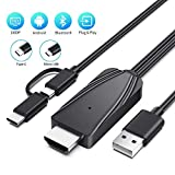 Onvian 2-in-1 USB Type C/Micro USB to HDMI Cable, 6.6ft MHL to HDMI Adapter 1080P HD HDTV Mirroring Charging Cable for All Android Smartphones to TV/Projector/Monitor