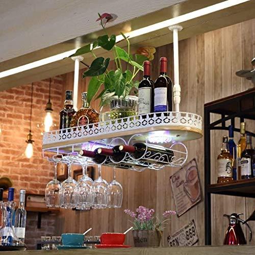 Feeyond Estante para Vinos Estante para Copas De Vino Estante para Vino Colgante, Utilizado para La Decoración del Bar De La Sala De Estar, Fácil De Instalar Y Almacenar,Blanco,60 * 28cm