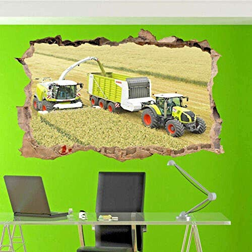 Tbagem-Yjr 3D wandaufkleber, wandsticker kinderzimmer Jungen Wandaufkleber Mähdrescher Traktor-Wand-Aufkleber 3D-Kunst-Plakat Aufkleber Mural Studio Büro fototapete 3D Effekt