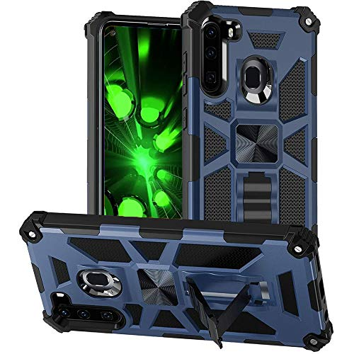 None Branded for Samsung Galaxy A21 Case,Full-Body Rugged Military Grade Tank Dual-Layer Shockproof Protective Cover with Kickstand Holder for Samsung Galaxy A21 -Blue