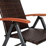 Alu Polyrattan Gartenstuhl klappbar für Garten Balkon und Terrasse verstellbare Rückenlehne - 3