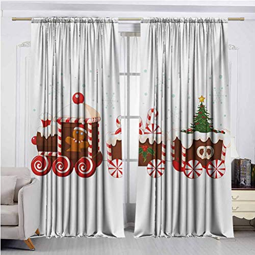 Christmas Blackout Curtains Train with Gingerbread Cream Candy Cartoon Toys Snowflakes Presents Thermal Insulated Room Darkening Curtain for Living Room White Brown Vermilion W60 x L96 Inch x2