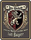 RAHMENLOS Deko Blechschild für den Bayern Fan: Das