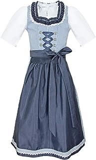 Bergweiss Trachten Kinder Dirndl Mare - Dunkelblau/Weiss - Trachtenkleid 3-TLG. Mädchen Jugenddirndl Schürze Kleid Bluse Gr. 116-164